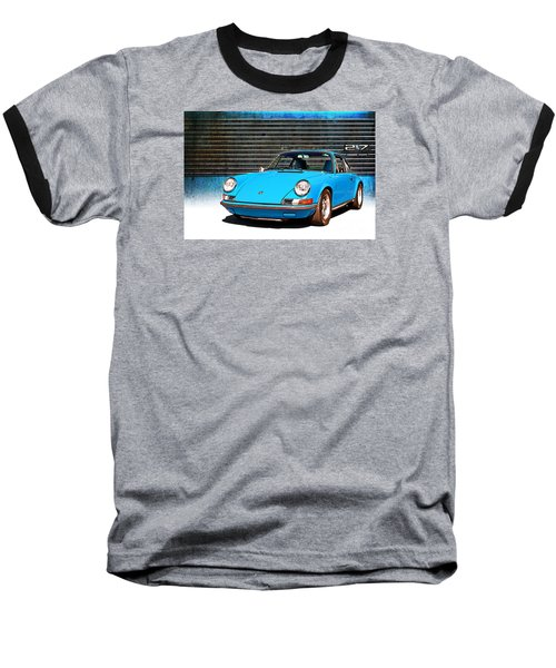 Blue Porsche 911 Baseball T-Shirt