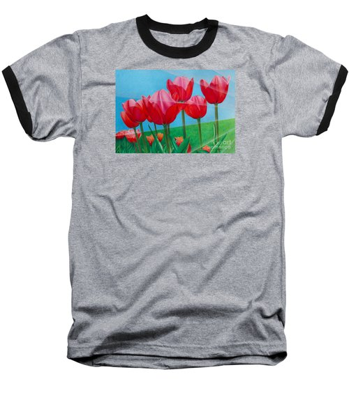 Baseball T-Shirt featuring the painting Blue Ray Tulips by Pamela Clements