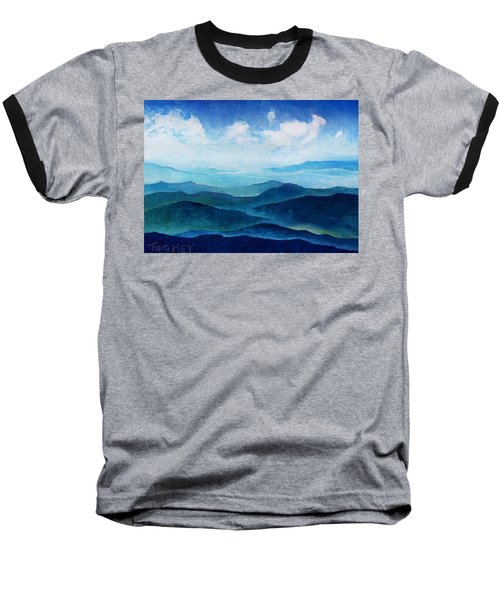 Blue Ridge Blue Skyline Sheep Cloud Baseball T-Shirt by Catherine Twomey