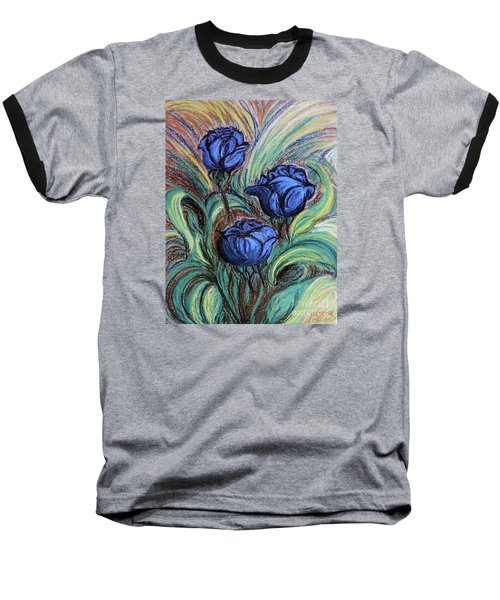 Baseball T-Shirt featuring the painting Blue Roses by Jasna Dragun