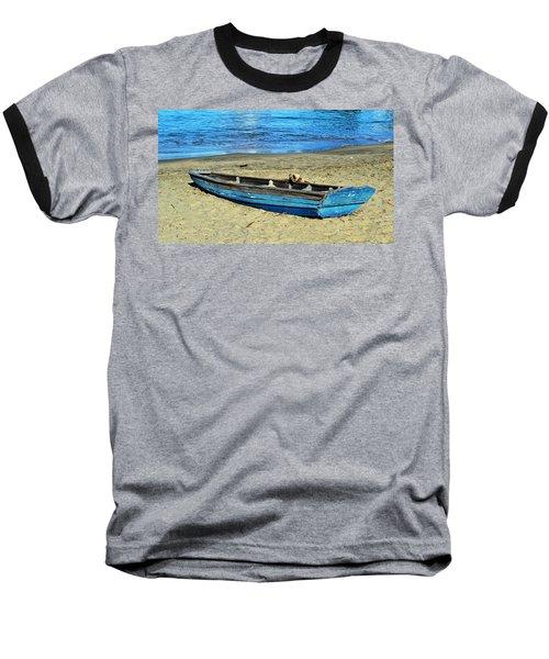 Blue Rowboat Baseball T-Shirt by Holly Blunkall
