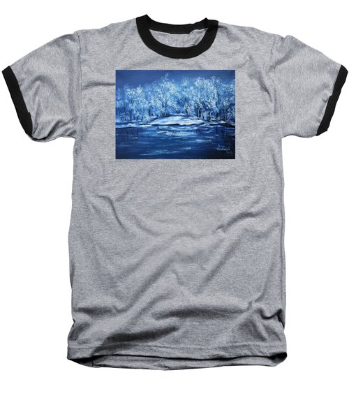 Baseball T-Shirt featuring the painting Blue Silence by Vesna Martinjak