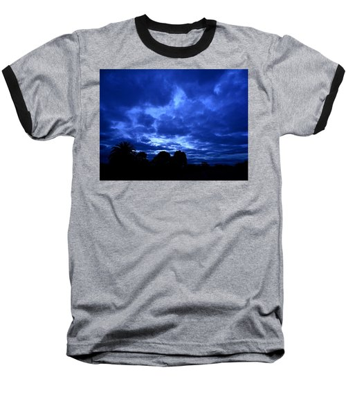 Blue Storm Rising Baseball T-Shirt by Mark Blauhoefer