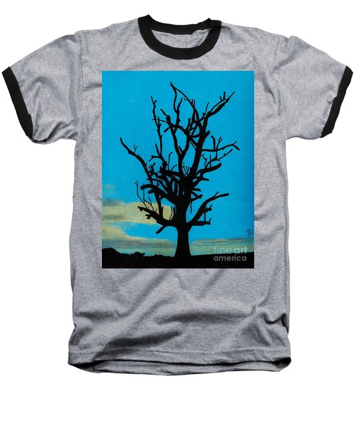 Baseball T-Shirt featuring the drawing Blue Sunset by D Hackett