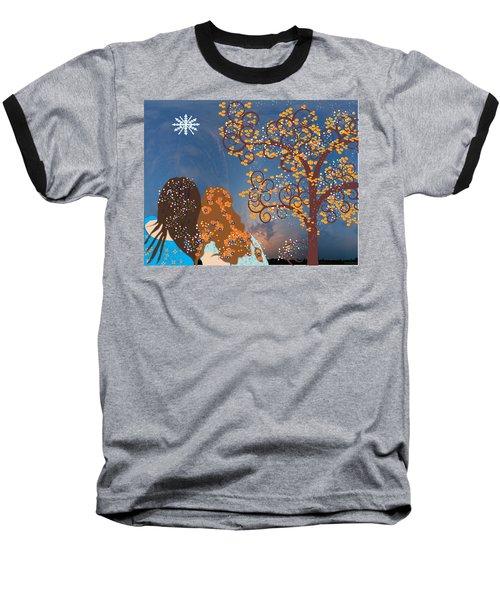 Baseball T-Shirt featuring the digital art Blue Swirl Girls by Kim Prowse