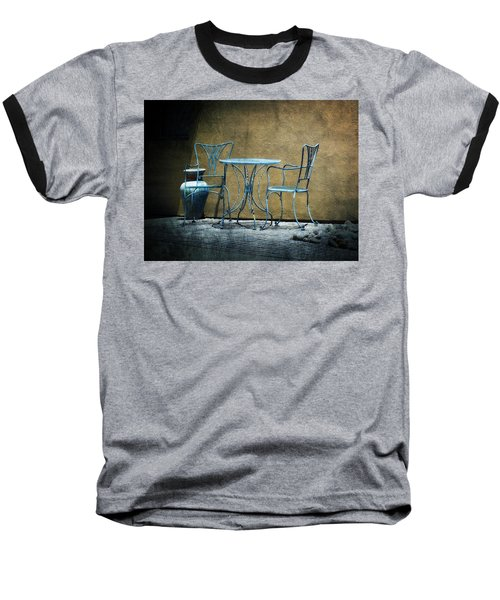 Baseball T-Shirt featuring the photograph Blue Table And Chairs by Lucinda Walter