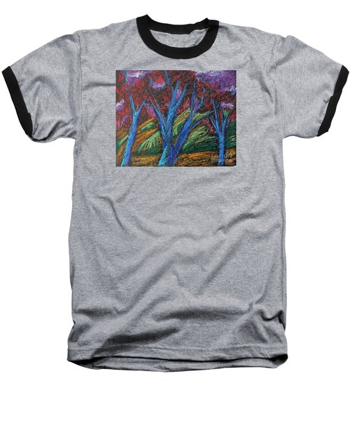 Baseball T-Shirt featuring the pastel Central Park Blue Tempo by Elizabeth Fontaine-Barr