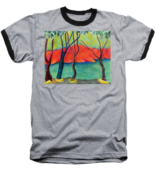 Baseball T-Shirt featuring the painting Blue Tree 2 by Elizabeth Fontaine-Barr