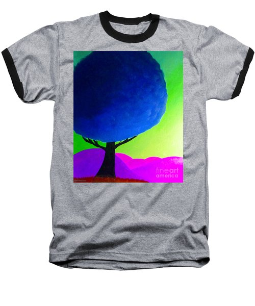 Baseball T-Shirt featuring the painting Blue Tree by Anita Lewis