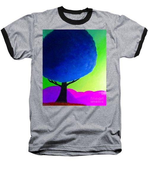 Blue Tree Baseball T-Shirt by Anita Lewis