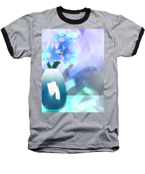 Baseball T-Shirt featuring the digital art Blue Vase Of Flowers by Frank Bright
