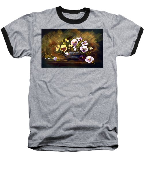 Blue Vase With Pansies Baseball T-Shirt