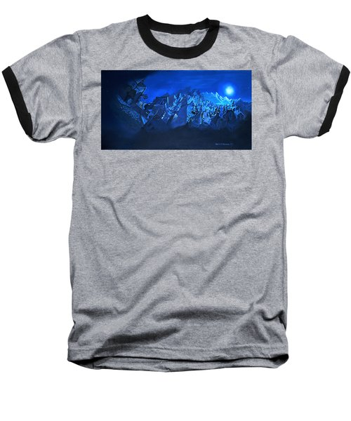 Baseball T-Shirt featuring the painting Blue Village by Joseph Hawkins