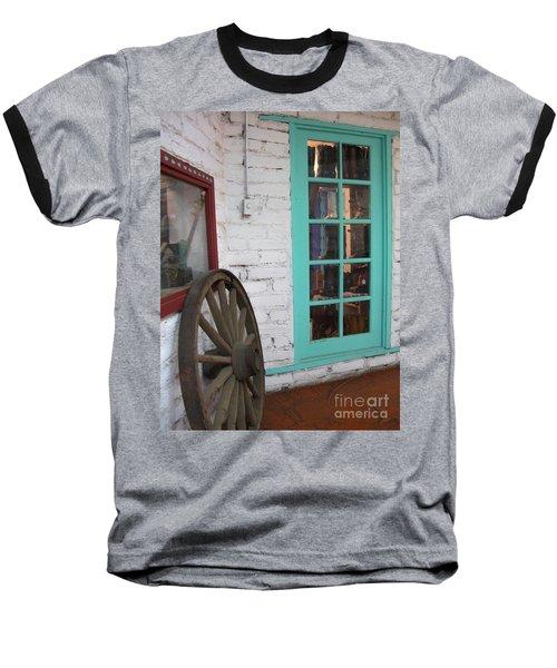 Baseball T-Shirt featuring the photograph Blue Window And Wagon Wheel by Dora Sofia Caputo Photographic Art and Design