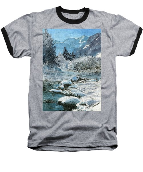 Blue Winter Baseball T-Shirt by Mary Ellen Anderson