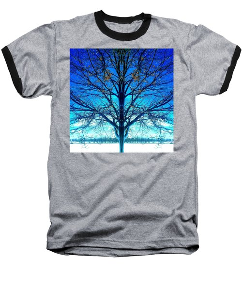 Blue Winter Tree Baseball T-Shirt by Marianne Dow