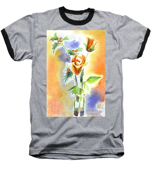 Baseball T-Shirt featuring the painting Blue With Redy Roses And Holly by Kip DeVore