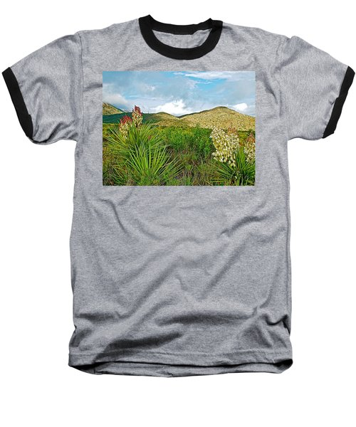 Blue Yucca And Chisos Mountains In Big Bend National Park-texas Baseball T-Shirt
