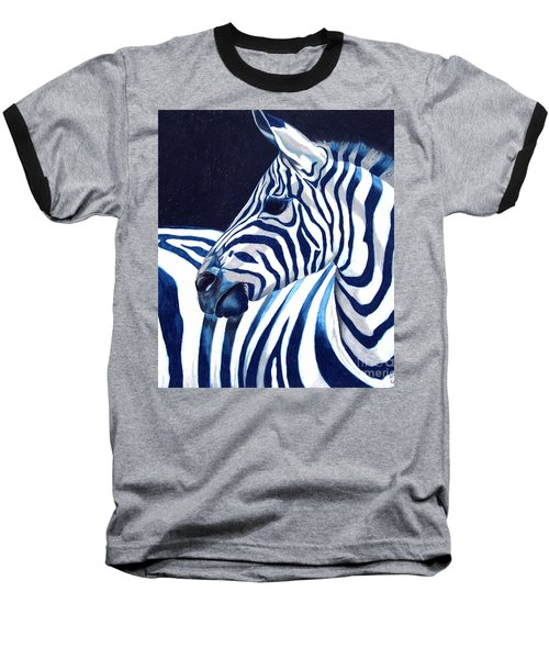 Baseball T-Shirt featuring the painting Blue Zebra by Alison Caltrider