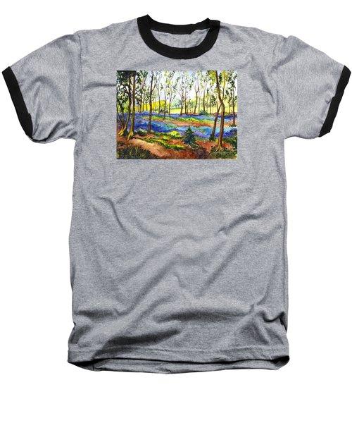 Baseball T-Shirt featuring the painting Bluebell Woods by Carol Wisniewski
