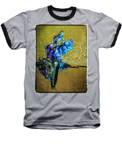 Baseball T-Shirt featuring the mixed media Bluebells In Water Splash by Peter v Quenter