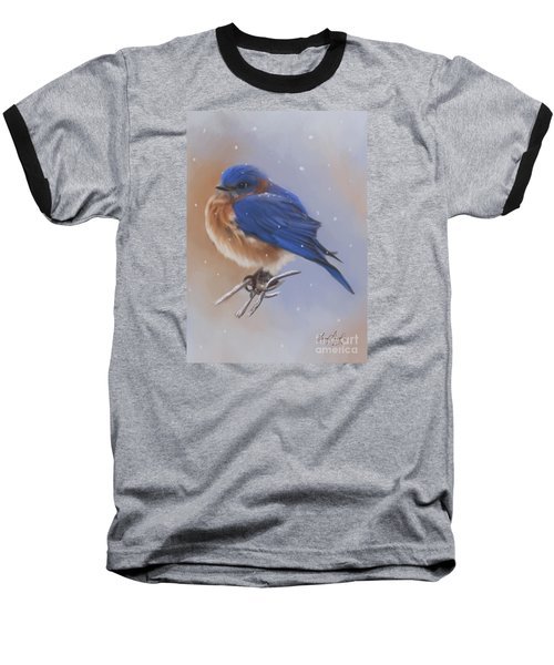 Bluebird In The Snow Baseball T-Shirt by Lena Auxier