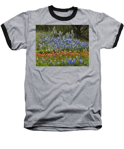 Bluebonnets Paintbrush And Prickly Pear Baseball T-Shirt