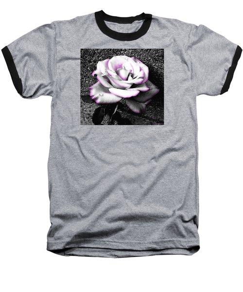Baseball T-Shirt featuring the photograph Blushing White Rose by Shawna Rowe