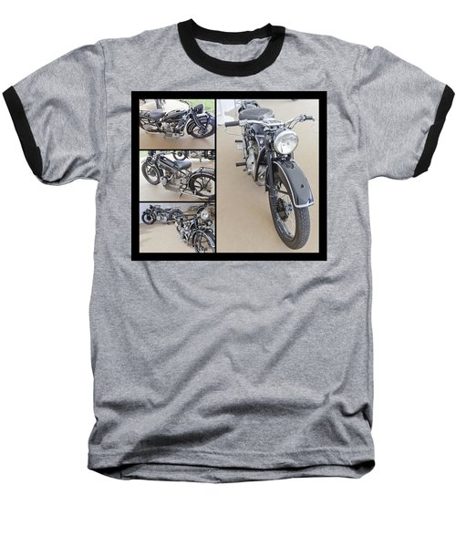 Bmw Art Deco Bikes Baseball T-Shirt by Maj Seda