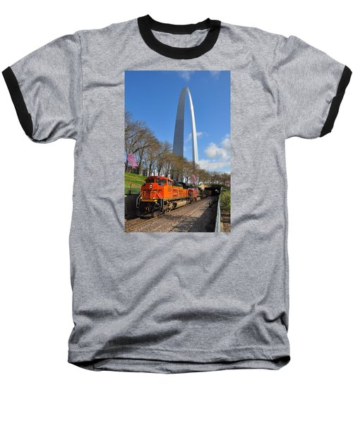 Bnsf Ore Train And St. Louis Gateway Arch Baseball T-Shirt