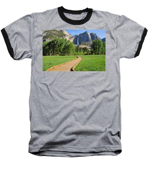 Boardwalk To Yosemite Falls  Baseball T-Shirt