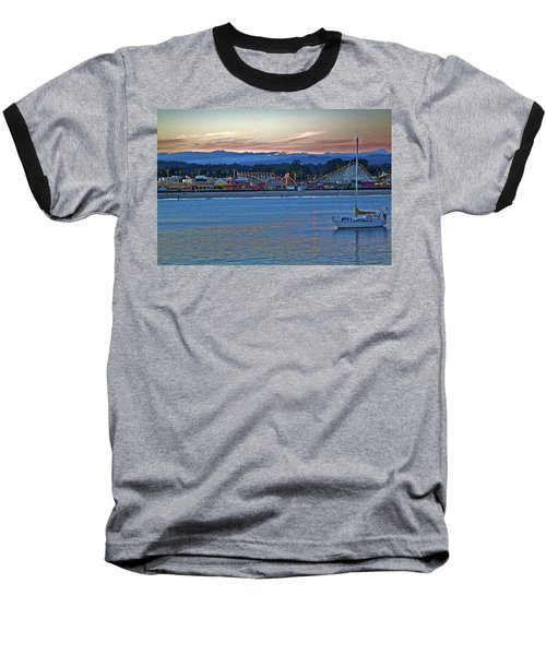 Boat At Dusk Santa Cruz Boardwalk Baseball T-Shirt