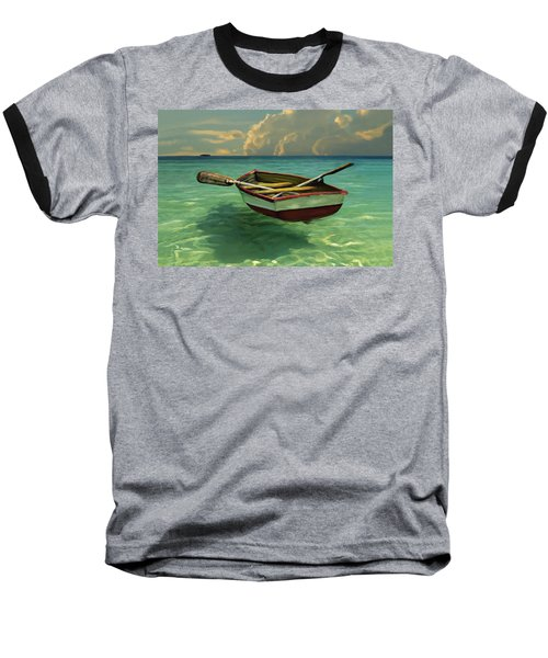 Boat In Clear Water Baseball T-Shirt