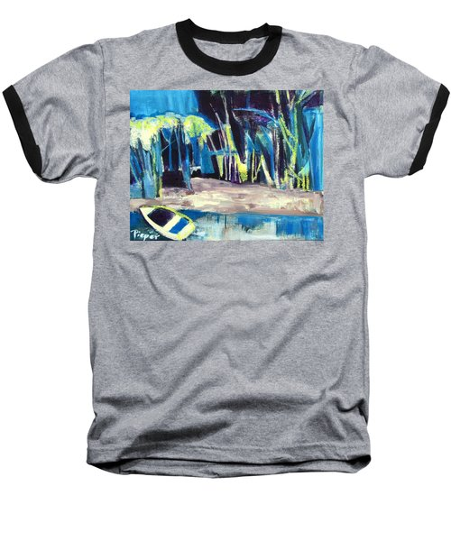 Boat On Shore Line With Trees On Land Baseball T-Shirt