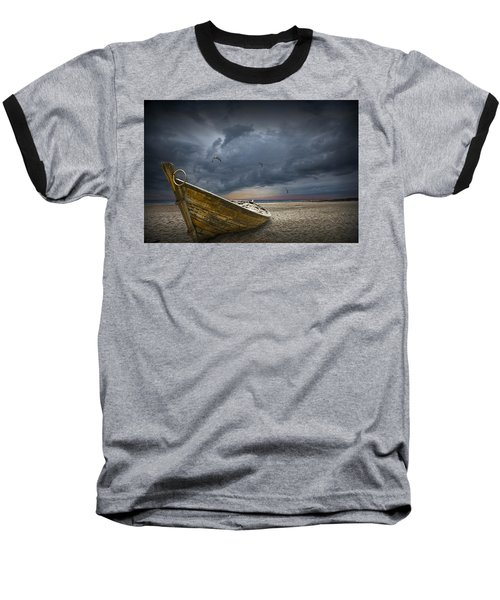 Boat With Gulls On The Beach With Oncoming Storm Baseball T-Shirt
