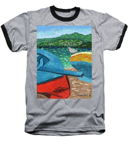 Boats And Bird At Rest Baseball T-Shirt by Laura Forde