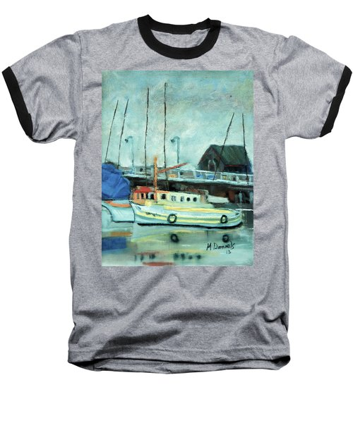 Baseball T-Shirt featuring the painting Boats At Provincetown Ma by Michael Daniels