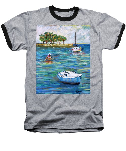 Baseball T-Shirt featuring the painting Boats At St Petersburg by Michael Daniels