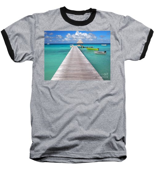 Boats At The Jetty In A Tropical Turquoise Lagoon Baseball T-Shirt