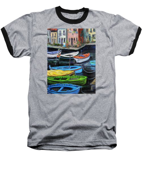 Baseball T-Shirt featuring the painting Boats In Front Of The Buildings II by Xueling Zou