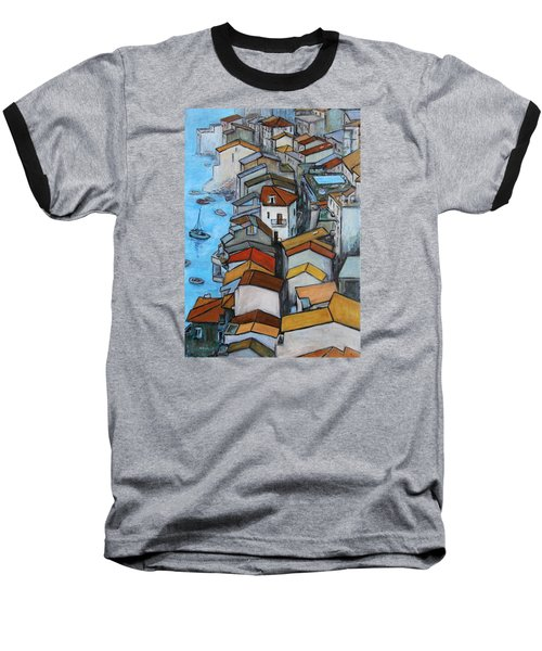 Boats In Front Of The Buildings Iv Baseball T-Shirt