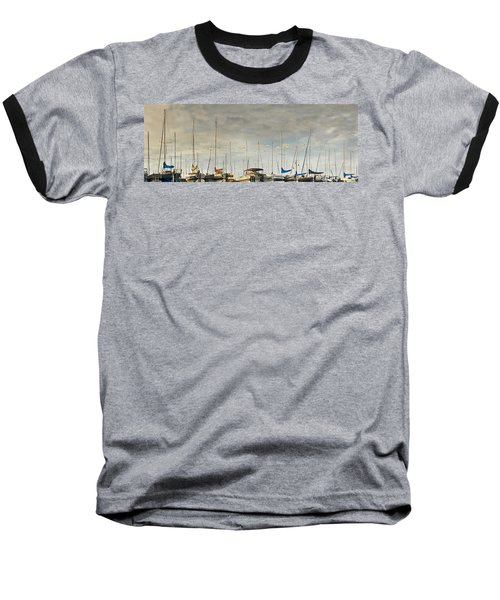 Baseball T-Shirt featuring the photograph Boats In Harbor Reflection by Peter v Quenter
