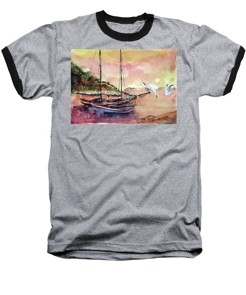 Baseball T-Shirt featuring the painting Boats In Sunset  by Faruk Koksal