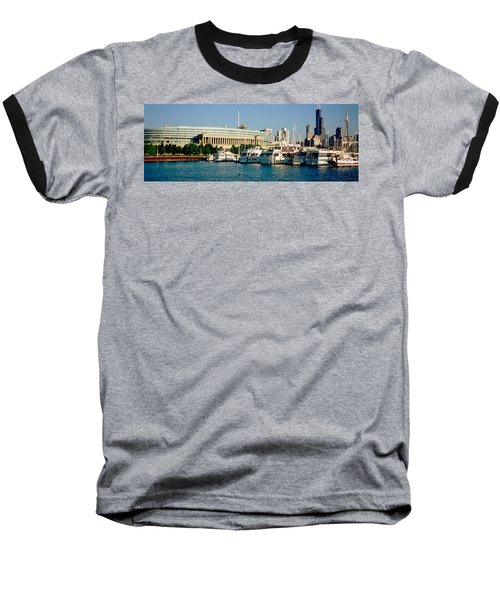Boats Moored At A Dock, Chicago Baseball T-Shirt by Panoramic Images