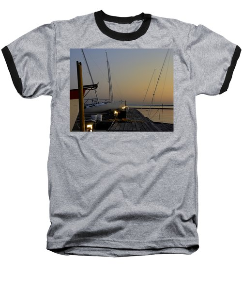 Boats Moored To Pier At Sunset Baseball T-Shirt