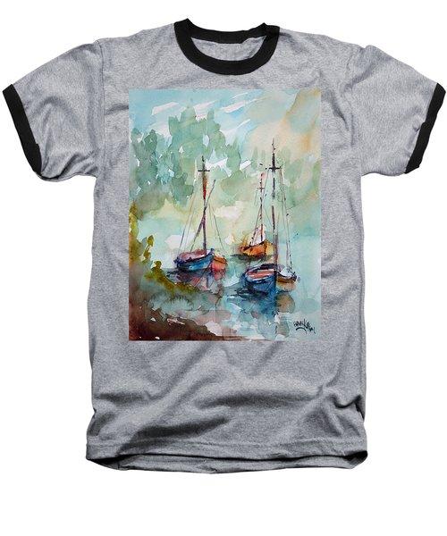 Baseball T-Shirt featuring the painting Boats On Lake  by Faruk Koksal