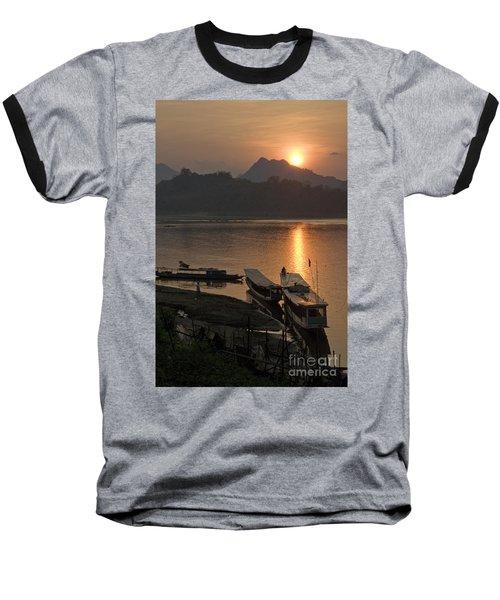 Boats On River By Luang Prabang Laos  Baseball T-Shirt