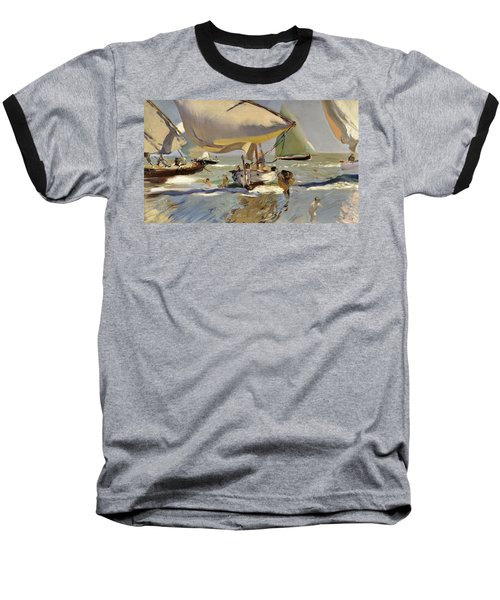 Boats On The Shore Baseball T-Shirt by Joaquin Sorolla y Bastida