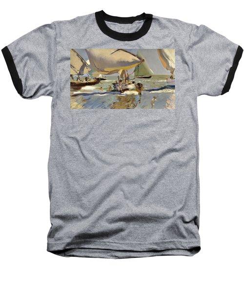 Boats On The Shore Baseball T-Shirt