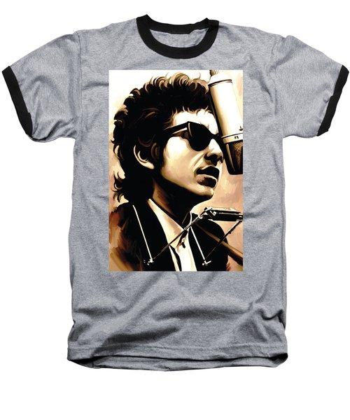 Bob Dylan Artwork 3 Baseball T-Shirt by Sheraz A